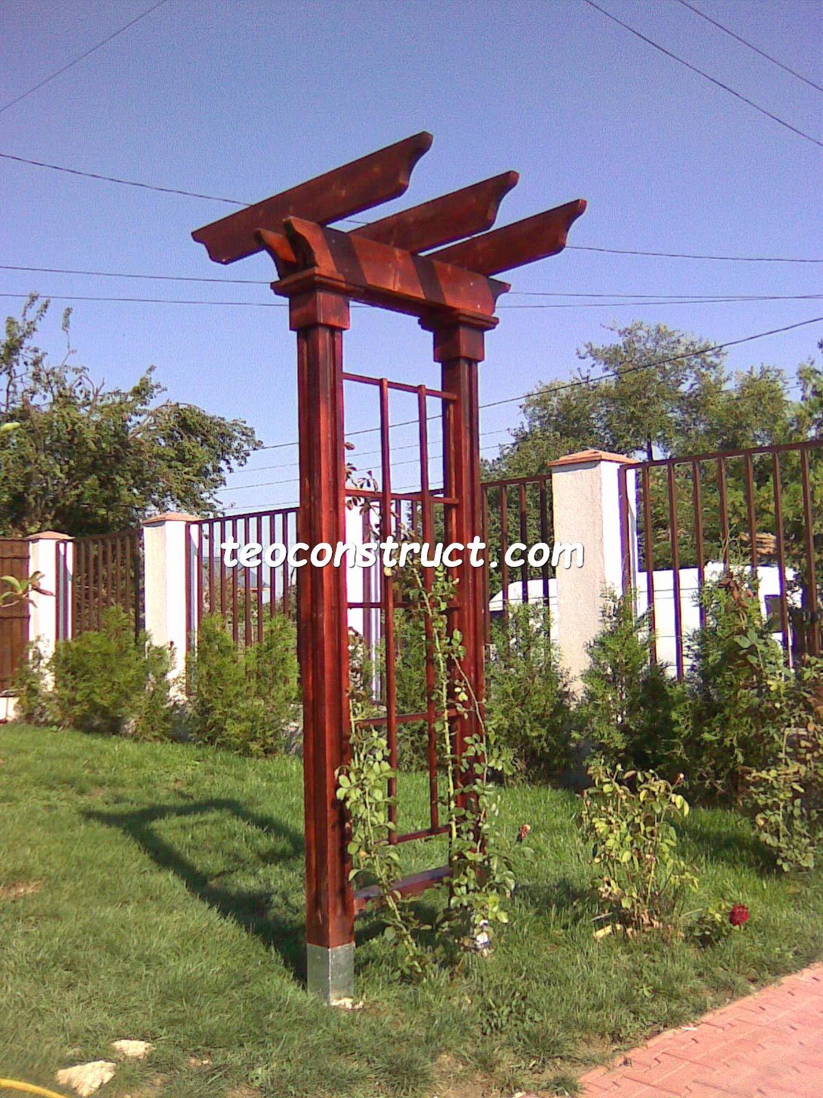 pergola din lemn pentru trandafiri foisoare din lemn garduri din lemn terase din lemn. Black Bedroom Furniture Sets. Home Design Ideas
