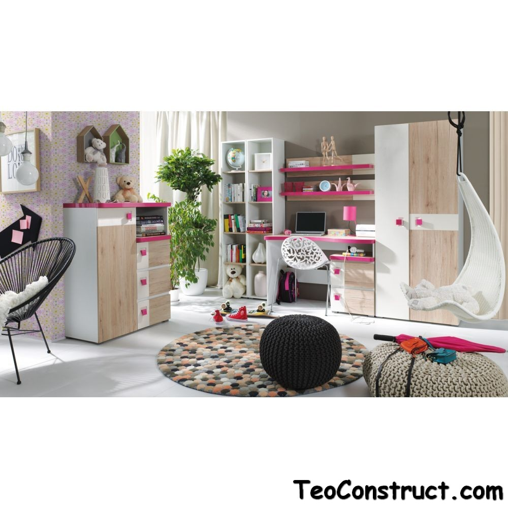 Biblioteca living moderna Colorato Roz 01