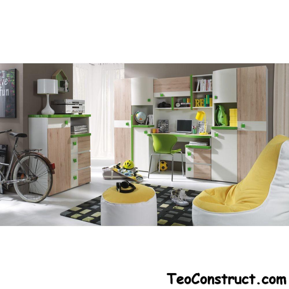 Biblioteca living pe comanda Colorato Verde 01