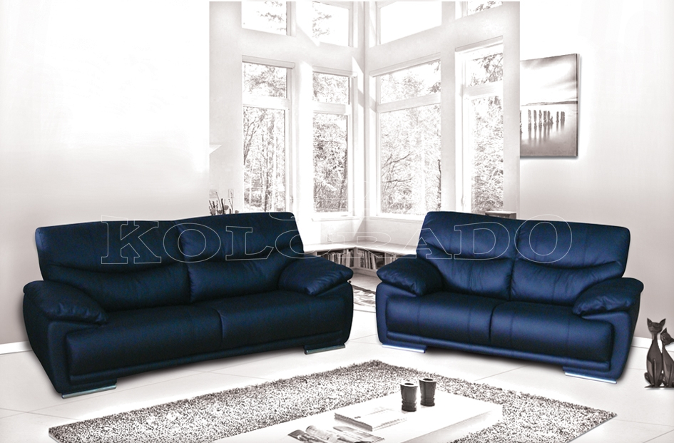 Canapea din piele neagra KOL FIGARO