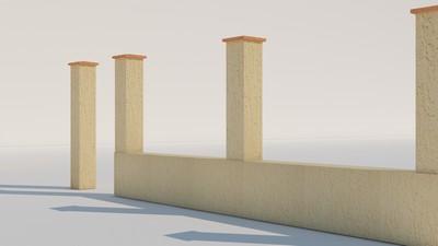 Gard cu fundatie de beton si stalpi de beton