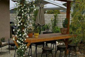 Masa cu pergola pentru trandafiri