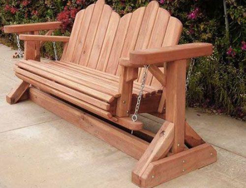 Bancuta din lemn, cu balansare