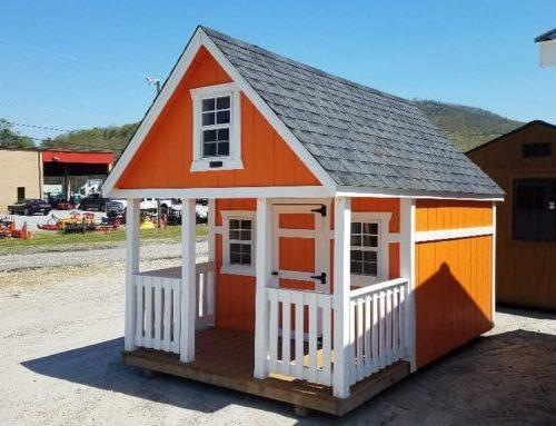 Casuta din lemn pentru copii, cu ferestre si terasa